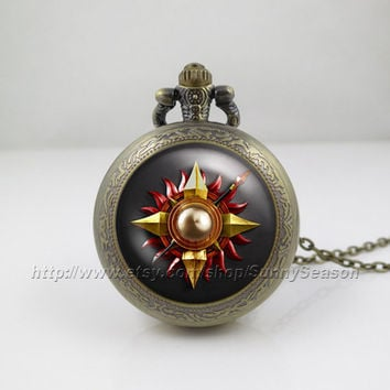 Game of thrones Pocket Watch,Game of thrones house martell crest Pendant Necklace, a song of ice and fire Locket necklace,Pocket Watch