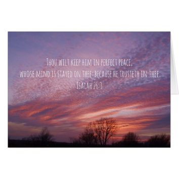 Oklahoma Sunset with Trees and Bible Verse Card