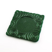 Fused Glass Wine Coaster, Emerald Green, Candle Plate, Imprinted Design, Bar Accessories, Bottle Decor, Cool Gifts for Men, Unique Wine Gift