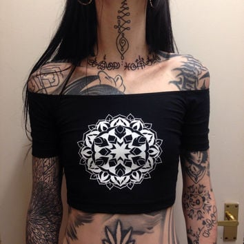 Mandala off the shoulder crop top