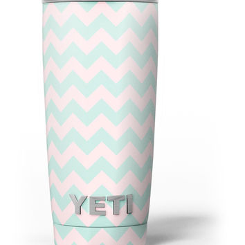 The Coral and Mint Chevron Pattern Yeti Rambler Skin Kit