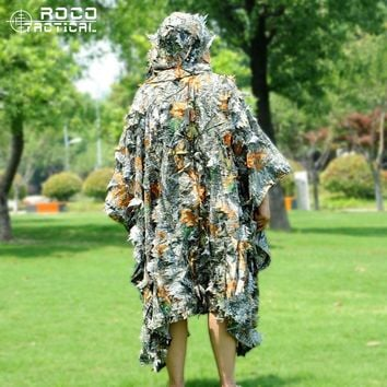 3D Leaf Ghillie Suit Autumn Lightweight Breathable Hunting Ghillie Poncho Made of Voice Silence Polyester for Hunting Airsoft