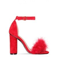 Ciara Red Suede Block Heel Faux Fur Heels : Simmi Shoes