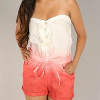 ombre-button-up-strapless-romper CORAL - GoJane.com