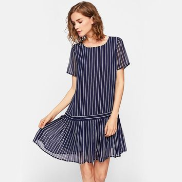 Navy Pleated Hem Mixed Stripe Drop Waist Midi Dress