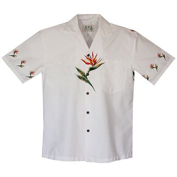 Bird of Paradise White Border Hawaiian Shirt