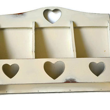 Wooden Shelf, Mail Holder, Letter Holder, Envelope Sorter, Office Decor, Craft Caddy, Shabby Shelf, Cottage Chic, Distressed Wall Shelf