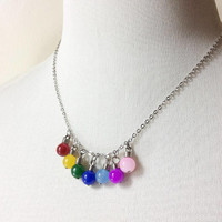 Christmas Lights Necklace: colorful light bulbs