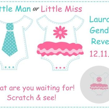 10 Little Man Little Miss Baby Shower Scratch Off Cards Gender Reveal