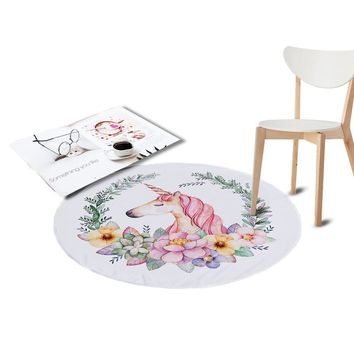 Coral Velvet Chair Floor Mat Unicorn Printed Round Carpet for Living Room Children Bedroom Play Area Outdoor Rugs Home Textile