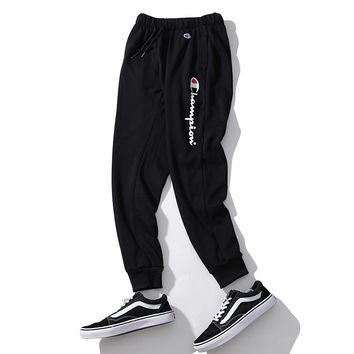 Champion embroidered couples men and women feet casual sweatpants F-A-KSFZ black