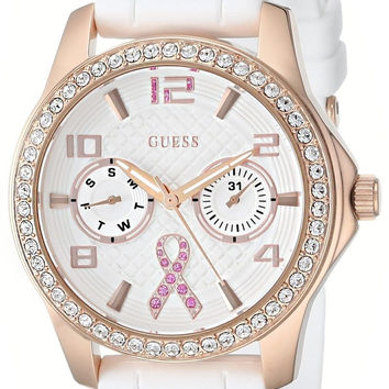 GUESS Women's U0032L3 Rose Gold-Tone Breast Cancer Awareness Watch with White...
