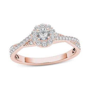 1/2 CT. T.W. Diamond Frame Twist Shank Engagement Ring in 14K Rose Gold