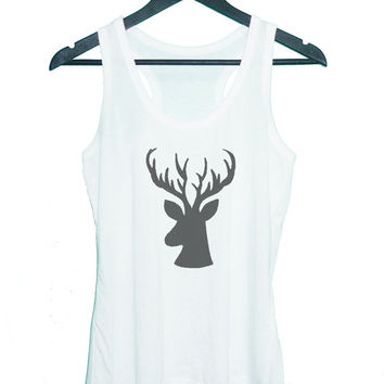 Deer horn tank top singlet**sleeveless tank**racerback tank top**men women tank top