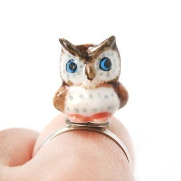 Porcelain Ceramic Adorable Owl Bird Animal Adjustable Ring | Handmade