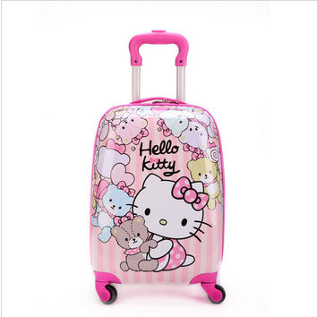 16 inch Kid's Lovely Travel Luggage, Children Hello Kitty Trolley Luggage With Universal Wheel, Pink Suitcase