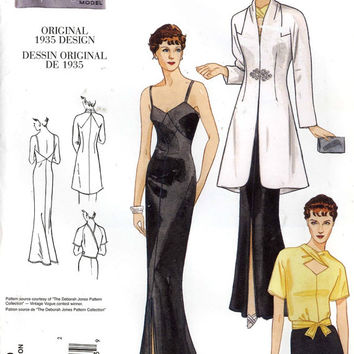 Glamorous 30s dress old Hollywood style wedding gown coat blouse sewing pattern Vogue 2859 Repro pattern 1935 Vintage Collection Sz 12 to 16