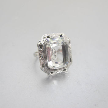 Sterling Silver Art Deco Ring. Emerald Cut Clear Faceted Glass Ring. Engraved Eight Sided Setting. 1920's Czech Glass Jewelry.