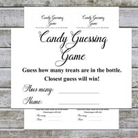 Candy Guessing Game / Baby Shower Games Boy Girl | Guess How Many / Black and White Cards | Printable Candy Game (v32) Instant Download