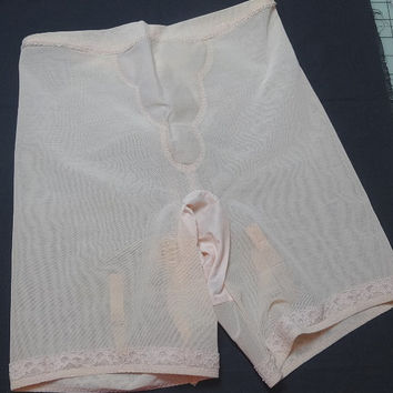 1950s Vintage Long Line Panty Girdle by Gossard, Gossar-Deb with Garter Tabs, Size Lg. 19-30, Pink Beige with Lace, Vintage Lingerie, Girdle
