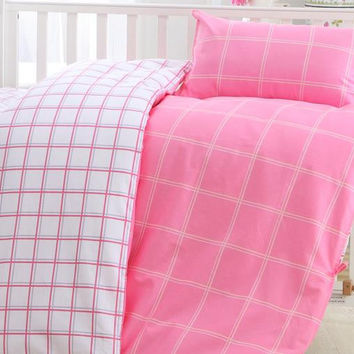 6 Color  Baby Bedding Sets Comfortable Three-piece Sets Combed Cotton  Printing Double-sided Color Quilt Cover Bedding Set