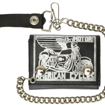 Genuine Leather Biker Chain Wallet Motorcycle Imprint 946-49 (C)