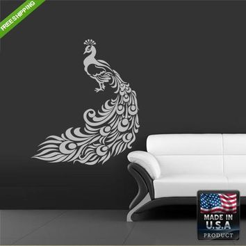 Wall Decal Decal Sticker Beautiful Cute Peacock Animals Bedroom  z175