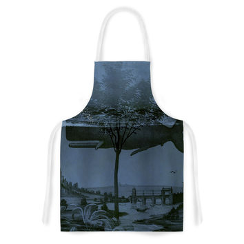 "Suzanne Carter ""Whale Watch"" Blue Illustration Artistic Apron"