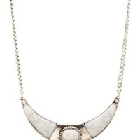 Silver Marbled Crescent Collar Necklace by Charlotte Russe