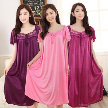 CREYCI7 Women summer silk satin lace Bow tie dress Long Nightgowns shorts sleeve Sleepwear sexy hollow out Nightdress nightwear homewear