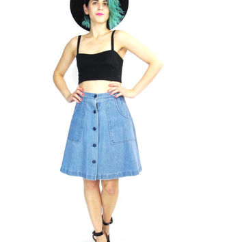 90s Denim Mini Skirt Flared Denim Skater Skirt Vintage 70s Style Jean Skirt High Waisted Skirt Button Up Front Pockets Circle Skirt (S)