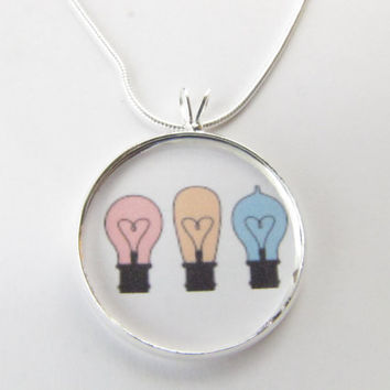 Lightbulb Necklace-Idea necklace-funky jewelry,colorful necklace,unique jewlelry