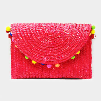 Pom Pom Red and Multi Colored Straw Clutch Purse Bag 342111