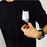 RIPNDIP 2016 New Men Women Fashion Ripndip T-shirts skateboard pocket cat T shirt Hip hop Brand Clothing Top Harajuku Couple tee