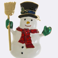 CHRISTMAS SNOWMAN ACCENT BROOCH PENDANT