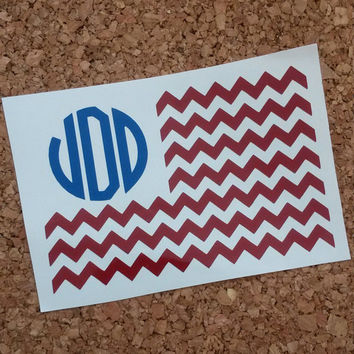 Monogrammed Flag | American Flag Decal | Cheveron Decal | Patriotic Decal | Laptop Decal | Monogram | Vine Monogram | Car Decal