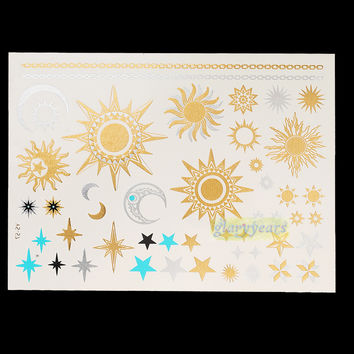 1PC Flash Metallic Waterproof Tattoo Gold Silver Fashion Women Henna YS-57 Sun Moon Star Necklace Temporary Tattoo Stick Paster