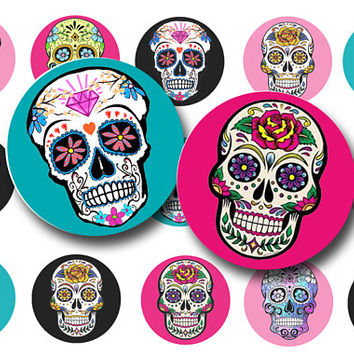 Sugar skulls digital collage sheet - Sugar skulls bottle cap images - Day of the dead - 1 inch circles - Key chains - Magnets - Pendants