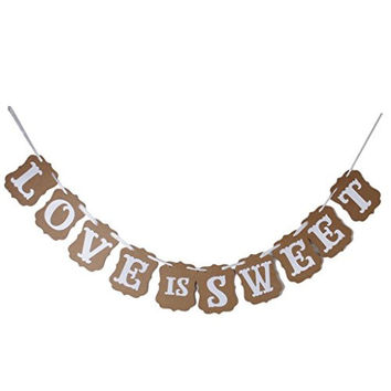 LOVE IS SWEET Vintage Wedding Bunting Banner Photo Booth Props Signs Garland Bridal Shower Wedding Decoration