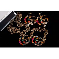 GUCCI Hot Sale Popular Colorful Diamond Brooch Earrings Bracelet Necklace Accessories Jewelry
