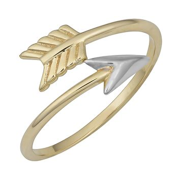 10k Two Tone Gold Bypass Arrow Ring