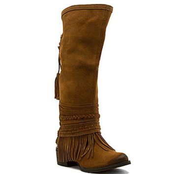 ICIKAB3 Naughty Monkey Zarape Tan Tall Fringe Boots