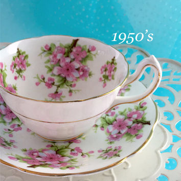 1950's  Spencer Stevenson High Handle Tea Cup and Saucer, Vintage China Teacup Set, Pink Dogwood Flower