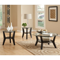 Standard Furniture Orbit 3 Piece Round Glass Coffee Table Set in Black