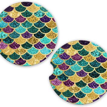 Mermaid Car Cup Coaster Teal Gold Purple Glitter Look Scales, Monogrammed Cup Holder, Custom Auto Gift, Sandstone Coaster, gift for her