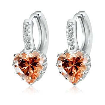 Heart Shaped Champagne Diamond CZ Solitaire Hoop Earrings