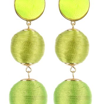Green 3 Ball Threaded Pom Pom Flat Top Earrings YBE4561GDGRN