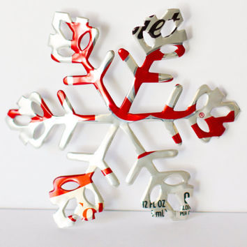 PAIR of Diet Coke - die-cut snowflake Christmas ornaments made from aluminum soda cans