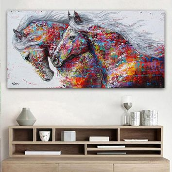 GOODECOR The Two Running Horse Canvas Art Animal Wall Art Poster Pictures For Living Room Home Decor Wall Canvas Print Painting