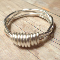 Silver Wire Weave Ring, Woven Wire Ring, Sterling Silver Dainty Ring, Size 2 3 4 5 6 7 8 9 10 11 12 13 14